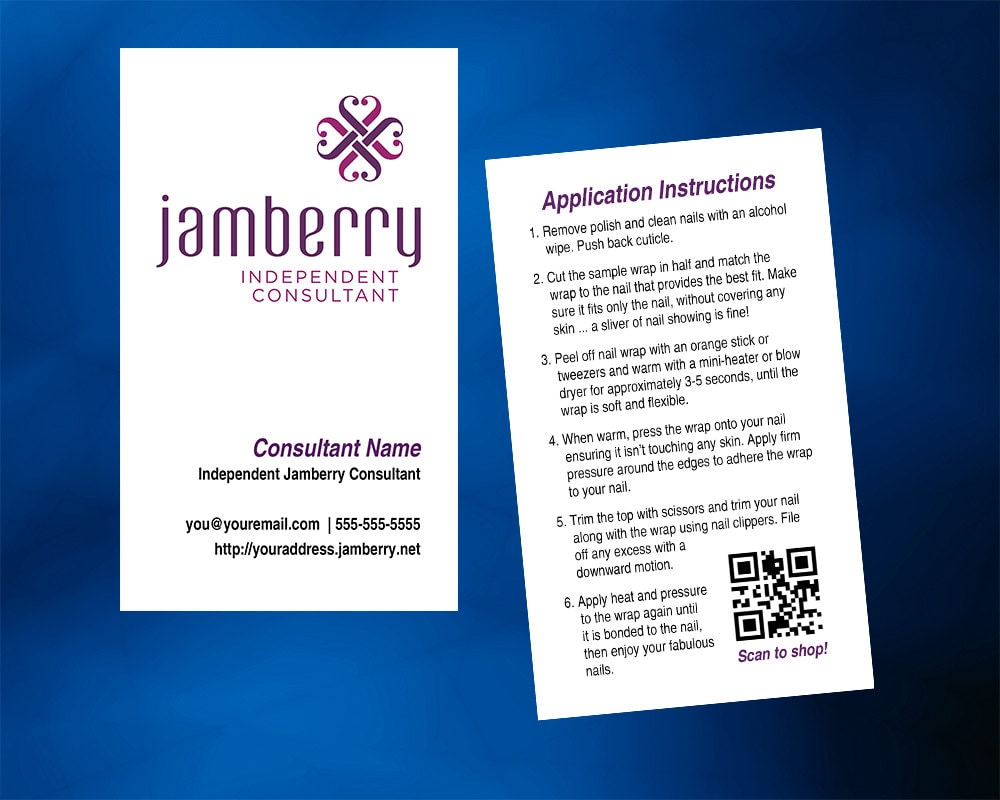 Jamberry Nails Business Card Vertical with optional back