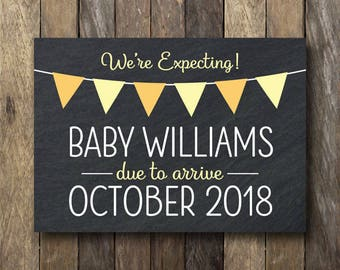 Printable Pregnancy Announcement - Chalkboard Pregnancy Reveal - Pregnancy Announcement Print - New Baby Pregnancy Reveal - We're Expecting