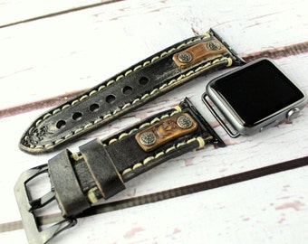 Leather Apple watch band,  Apple watch strap, apple band 38mm, apple band 42mm, Leather strap for apple watch, Black & Brown Apple strap