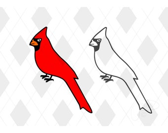 Cardinal Bird Cut File SVG Studio 3 PDF JPG Original Design by Paul for Cricut Silhouette Files Svgs Summer Cutout Cardinals Party Birds