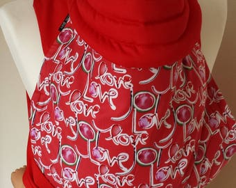 Mei Tai Baby Carrier , Bei-dai, Meh-dai / Sling / Reversible / Love with Red in straight cut model