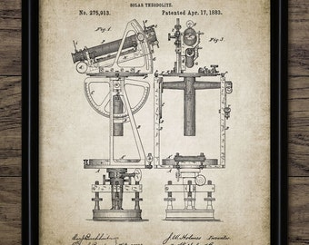 Solar Theodolite Print - 1883 Theodolite Design - Precision Instrument - Surveying - Meteorology - Single Print #1048 - INSTANT DOWNLOAD