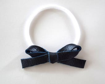 NAVY Metallic Leather LARGE Bow Headband Photo Prop for Newborn Baby Little Girl Child Adult Blue Tan Nude White 4th of july Headwrap