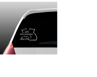 Cats Leave Pawprints on our Hearts Car Window Decal for Cat Lovers