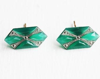 Deco Green Studs, Deco Emerald Studs, Emerald Studs, Green Glass Studs, Green Crystal Studs, Rectangle Studs, Emerald Shape Studs, Studs