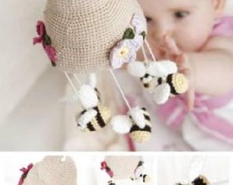 Bumble Bee Mobile DMC  Amigurumi Crochet Pattern , nursery decor, bee nursery mobile pattern, crochet mobile pattern, crib mobile