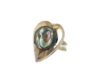 Vintage Mexican Silver Ring, Taxco Sterling Silver Ring, Abalone Ring, Heart Ring, Unique Ring, Gift Idea For Her