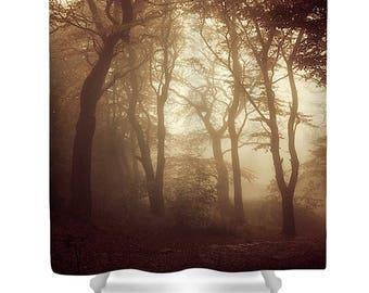 Tree Shower Curtain, Tree Bathroom Decor, Gold Shower Curtain, Earth Tones,  Neutral