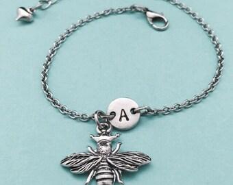 Queen bee charm bracelet, queen bee charm, adjustable bracelet, insect, personalized bracelet, initial bracelet, monogram