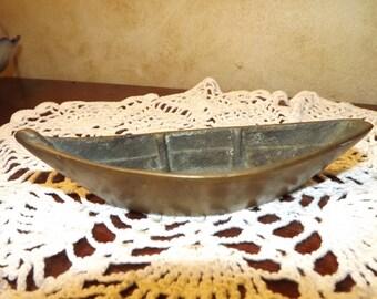 Vintage Brass  Boat Canoe Trinket Dish