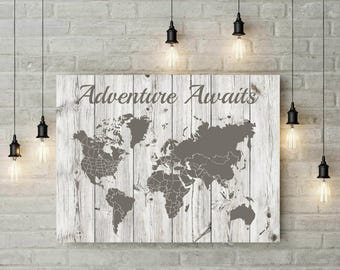 Extra Large Travel World Map | Adventure Awaits | Canvas Print | Foam Board | World Map Wall Art | Anniversary Gift For Parents  - 69977