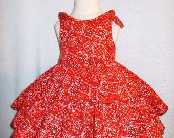 Cowgirl Twirly Country Western Swing Dress Square Dance Dress Red Bandana print, Baby, Infant, Toddlers and Girls Sizes.