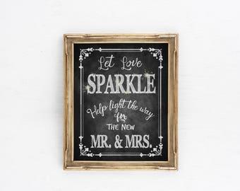 Chalkboard Wedding Sign, Wedding Sparkler Sign   Let Love Sparkle for Mr Mrs, Rustic wedding signs, Sparkler Send Off Sign, wedding send off
