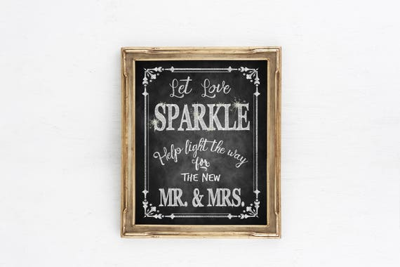 Chalkboard Wedding Sign, Wedding Sparkler Sign | Let Love Sparkle for Mr Mrs, Rustic wedding signs, Sparkler Send Off Sign, wedding send off