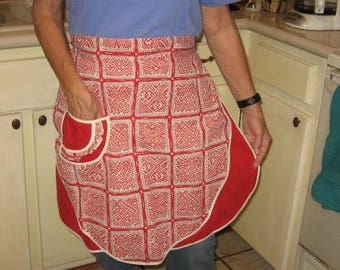 Red reversible apron