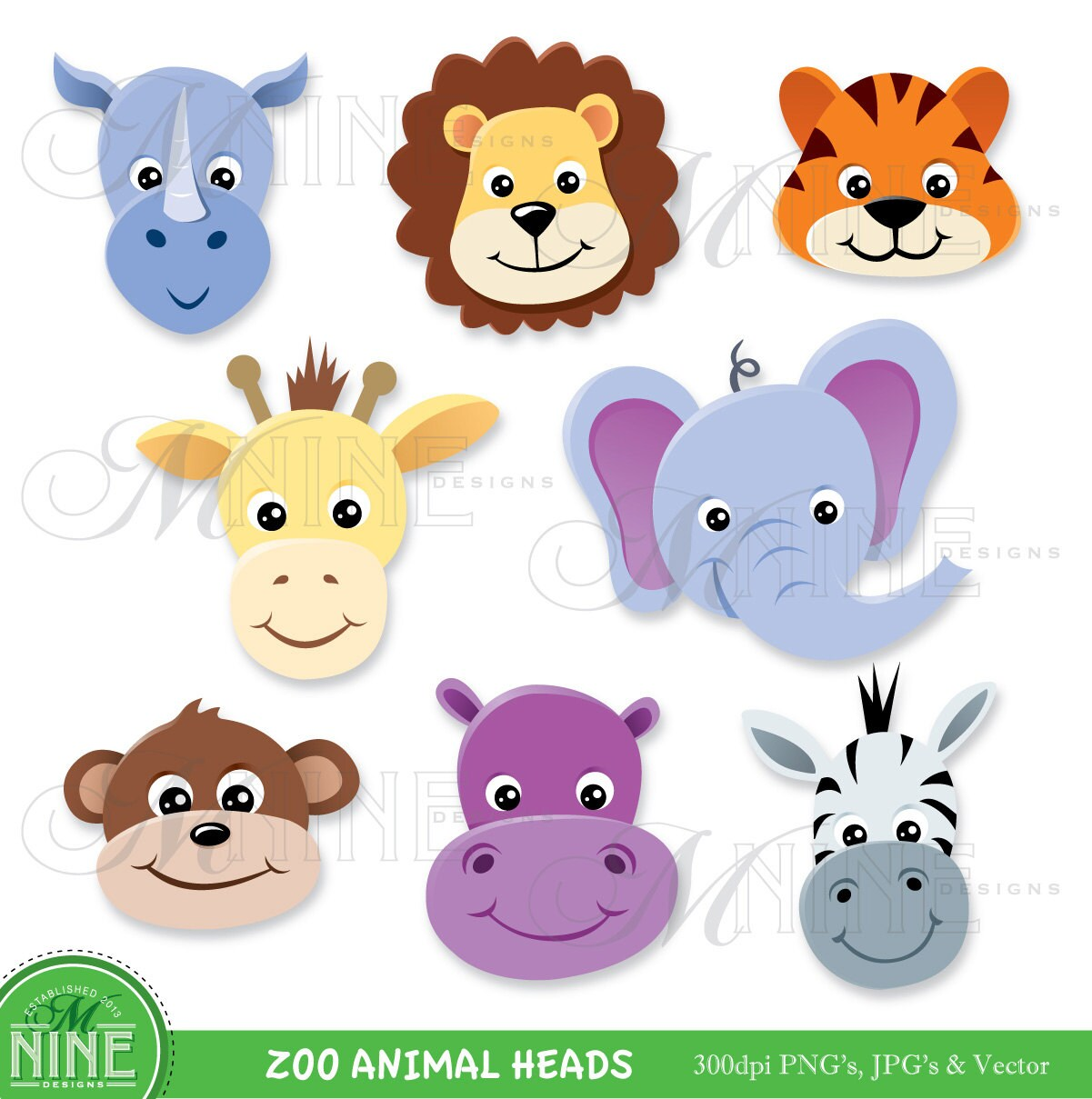animal clip art zoo animal heads clipart digital clip art rh etsystudio com zoo animals clipart images zoo animal clip art free