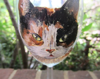 Hand Painted Calico Cat Wine Glass