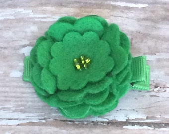 Spring Green Beaded Felt Flower Hair Clip Clippie Babies, Toddlers, Girls