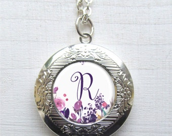 Photo Locket, Locket Necklace, Personalized Initial Locket, Photo Jewelry