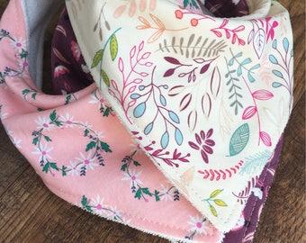 Girl bandana bib bandana bib baby gift baby girl Designer Bandana Bib drool bib-Organic Bamboo Terry Cloth Bib wildflower bib