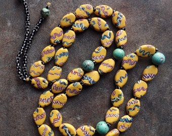 Fine Long Strand of  Antique Venetian Tabular Beads from the African Trade