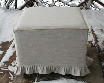 Linen ruffled ottoman slipcovers light grey melange custom cube bench cover pouf sofa square slip covers