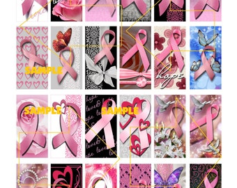 Breast Cancer Awareness Pink Ribbon 1x2 inch Domino Digital Collage Sheet page size 8 1/2 x 11