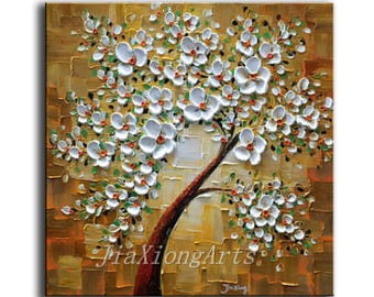 Original Oil Painting Handmade Art Palette Knife White Flowers Painting Modern Home Decor Painting Canvas Wall Art Painting READY TO HANG