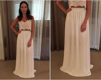 Wedding Skirt - Chiffon Wedding Skirt - Bridal Skirt - Bridal Separates - Two Piece Wedding Dress - White Wedding Skirt - Bridesmaids Skirt