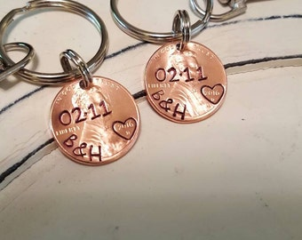 Anniversary Keychain, (set of 2), Lucky Penny Keychain, Couples Keychain, Wedding Gift Keychain, Gifts for him, Gifts for her, Couples Gift