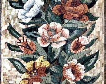 Multicolored Carnation Flowers Mosaic Art Tile