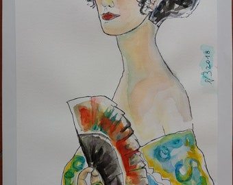 Woman with fan-watercolor No. 45-2018 Gustav KLIMT Atupertuarte Original Watercolor
