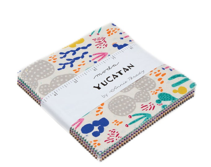 Featured listing image: Charm Pack, Yucatan by Annie Brady for Moda Fabrics, 42 pieces 5x5 inch fabric squares--colorful--16710PP