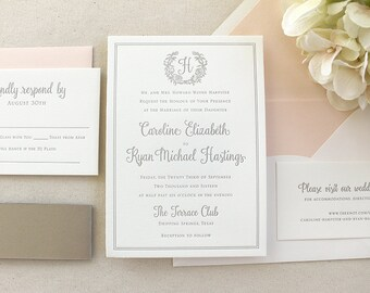 The Rose Wreath Suite  - Sample - Letterpress Wedding Invitation Suite,  Rose, Floral, Wreath, Monogram, Blush, Pink, Taupe, Grey