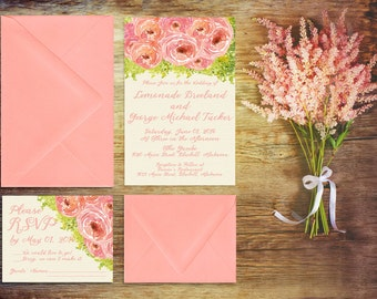 Wedding Invitations in Coral Pink Watercolor Peonies for Shabby Chic Weddings / PRINTED Wedding Invitation w/ RSVP Cards / Calligraphy Style