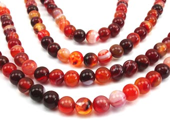 20 round natural 6 mm agate, red beads