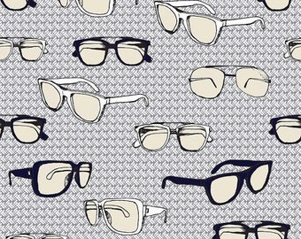 25% OFF CLEARANCE SALE Sporty Glasses on Gray from Riley Blake