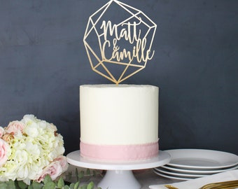Personalized Geometric Wedding Cake Topper | Custom Name