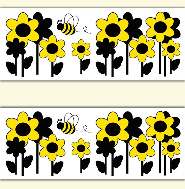 BEE BORDER DECALS Nursery Wall Art Yellow Floral Girl Room