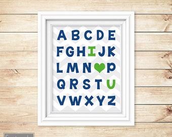 Navy Lime Green Alphabet I love You Nursery Wall Art Heart ABC's Boy's Chevron Printable 8x10 Digital JPG Instant Download (22)