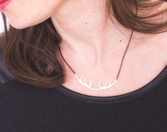 Deer pendant necklace matte gold, black and gold mesh chain, pendant laser cut, gold plated high quality