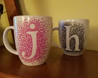 Hand Painted Speckled Monogram Coffee Mug