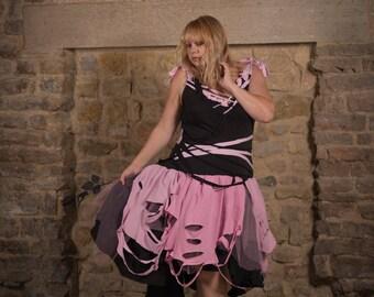 Black & pink pastel goth dress; raggedy gothic fairy tutu. Kawaii, grunge, anime clothing, Festival Circus Fashion, voodoo doll