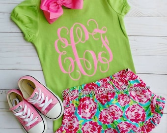 Girls monogram short set, summer boutique outfit, baby girl monogram outfit,