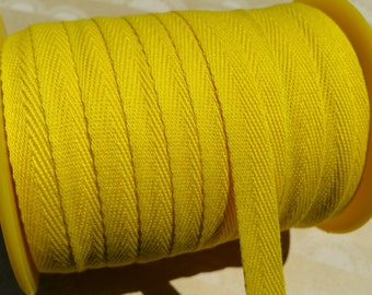 """Yellow Twill Tape Trim - Sewing Bunting Shipping Packaging - Bright Yellow Polyester Twill - 3/8"""" Wide - 10 Yards"""