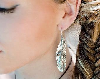 Statement Earrings, Dangle Earrings, Long Earrings, Drop Earrings, Boho Earrings, Silver Earrings, Feather Earrings, Gypsy Earrings JE120