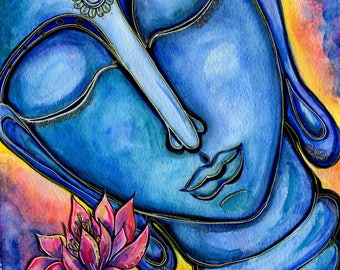 Blue Buddha Print, serenity, lotus, mica, buddhism, interior design, watercolor, mixed media,