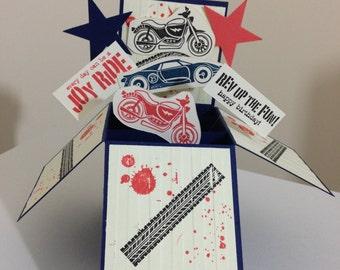 Handmade Happy Birthday card in a box, Handmade Bike/Car pop up card