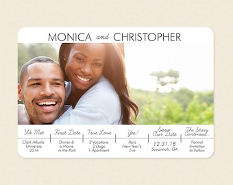 Love Story Infographic Photo Save the Date Card or Magnet - Couple Timeline Affordable Save the Date
