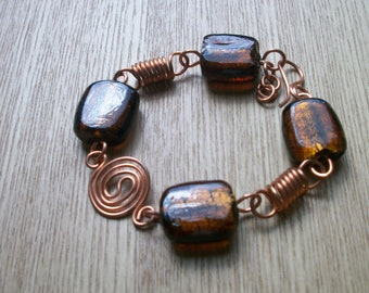 Chunky copper bracelet , brown bead and copper bracelet, brown bracelet, copper wire work bracelet